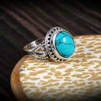 Solid 925 Sterling Silver Turquoise Gemstone Ring Handmade Jewelry All SIZES G64