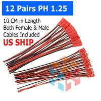 12 pairs 145mm JST Plug Connector Cable Male & Female For RC Lipo Battery