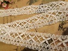 "Vintage HAND Bobbin Lace Cotton Trim ~Needle lace French Doll FLOWER White 38"""