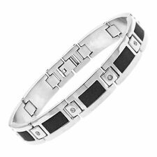 Mens Womens Stainless Steel Bracelet & Cubic Zirconia Black Accent Bangle