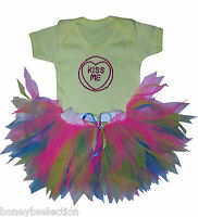 Love Heart Kiss Me Sparkle Baby Grow Tutu Neon 80s Fancy Dress Costume Kid Girl