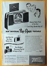 "Vintage Magazine Print Ad 1948 Zenith ""Universal"" Pop-Open Portable Radio"