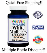 White Mulberry Leaf Extract 1000mg 200 Capsules 3+Month Supply Fast Weight Loss