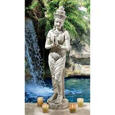 "Design Toscano 35"" Thai Teppanom Beautiful Being Statue Antique Stone Finish"