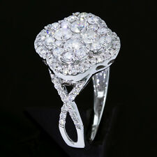 1 1/2 carat tw Diamond Pave-set Clover 14k White Gold Right Hand Cluster Ring ct