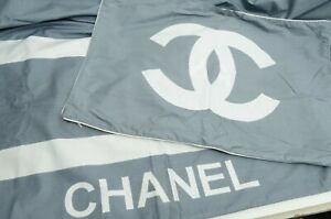 Authentic Chanel Comforter Duvet Cover Pillow Case Queen / King CC Logo Gray HTF