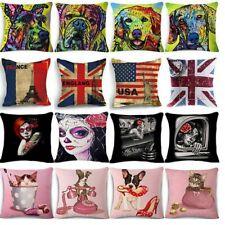 Vintage Funny Black Pillow Case Cotton Linen Throw Cushion Cover Home Decor