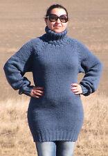 WOOL Hand Knitted DARK BLUE Sweater Turtleneck Unisex Pullover Jumper Fluffy