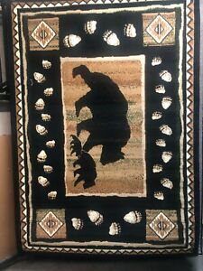 Black Bear with Cubs 5x8 rug for the home.