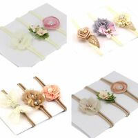 3pcs/set Baby Newborn Toddler Girl Flower BowHairband Headband Hair Accessories