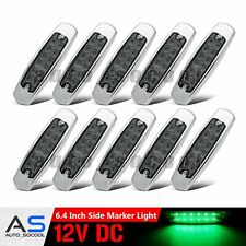 """10X 12 LED Smoked / Green 6.4"""" Thin Side Clearance Marker Light Waterproof 12V"""