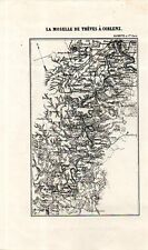 Carta geografica antica LA MOSELLA fra TRIER e KOBLENZ 1870 Old antique map