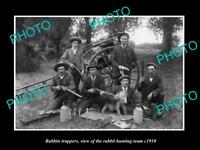 OLD LARGE HISTORIC PHOTO OF RABBIT TRAPPERS TRAP, HUNTERS AT THEIR CAMP c1910 3