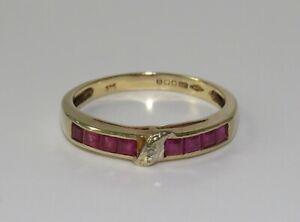 9ct Gold Ruby & Diamond Eternity Ring size N