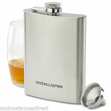8oz Hip Flask In Stainless Steel With Free Funnel By Andrew James