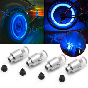 4x Blue LED Wheel Tyre Tire Air Valve Stem Cap Light Lamp For Car Motorcyle Bike