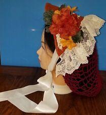 Lady's Civil War Reproduction Fanchon Burnt Orange 1/2-Bonnet Dinner Bonnet