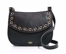 NWT $348 KATE SPADE Leather Boulder Lane Maggy Saddle Crossbody Bag BLACK Gold