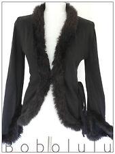 Chaqueta de adorno de piel H&M Negro Vintage Victoriana peculiar Gótico Chic Vamp 12