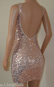 VICKY MARTIN copper gold sequin fitted cut out backless mini dress 12 BNWT £150!