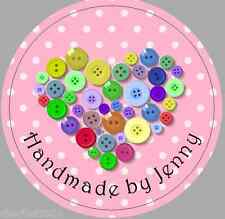 24 X 40mm Personalised Stickers Round Buttons Heart Pink Handmade by Labels