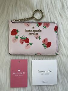 New Kate Spade staci wild strawberries medium l-zip card holder Limited Edition