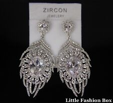 White Gold Plated Cubic Zirconia Cluster Feather Wedding Earring UK New