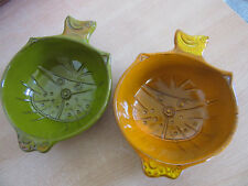 """2 vintage Cat Face bowls - 1967 Pacific Stoneware """"People Lovers"""" By B Welsh"""