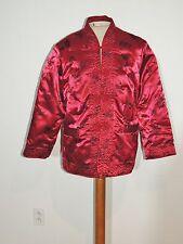 Vintage Red Brocade Silk Padded Chinese Jacket MED