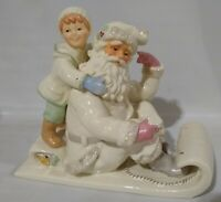 Rare LENOX Christmas Holding On For The Holidays Santa Sled Figurine - New