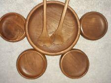 Teak Salad Bowl Set 7 Piece  Retro UNUSED