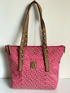 NEW! TOMMY HILFIGER RED TOP ZIPPERED SHOPPER SATCHEL TOTE BAG PURSE $89 SALE