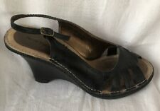 Hush Puppies Ladies Leather Black Wedge Sandals In Good Cond Size UK 4