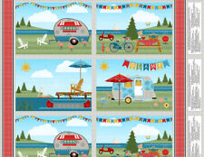 FABRIC PLACEMAT PANEL-LET'S GO CLAMPING-CAMPERS- SOLD BY PANEL 68411 974