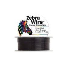 Zebra Coated Copper Wire Black 18 Gauge 10 Yards