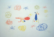"JOAN MIRO Hand Signed 1950 Original Color Lithograph - ""The Red Bird I"""