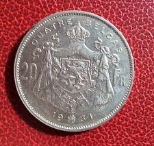 Belgique - Albert Ier -  Très Joli et rare 20 francs/ 4 belgas 1931 Fr   - pos A