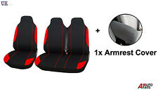2+1 RED SOFT & COMFORT FABRIC SEAT & ARMREST COVERS FOR VW VOLKSWAGEN CADDY VAN