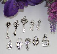 50PCS Mixed Lots of tibetan silver Lock and Key Charms #22468