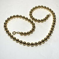 "VINTAGE Gold Tone BEAD NECKLACE Round 18"" NICE!"