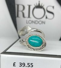 Turquoise 925 Ring Sterling Silver Gemstone Leaf Adjustable Gift for Her Boxed