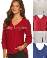 NEW Women's Chaps Cable Knit V-Neck Sweater Long Sleeve