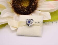 NEW Authentic Pandora SIGNATURE HEART September Synthetic Sapphire Charm 791784S