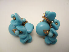 "Rare Vtg 1-1/4"" Signed Miriam Haskell Turquoise Glass Bead Clip On Earrings A49"