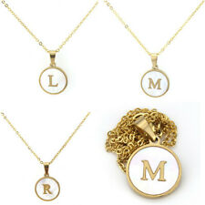 A-Z Stainless Steel Alphabet Initial Necklace Letter Pendant Gold Plated Chain