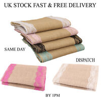 Polka Dot Sky Hessian Burlap Vintage Rustic Table Lace Runner Party Decorations
