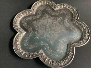 Large antique 19th century Persian silver tray, ancient imperial scenes