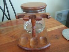Vintage Glass Tobacco Humidor with 3 Pipe Wooden Stand Rack Holder Walnut?