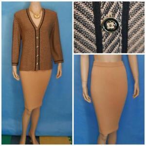 St. John Collection Beige Gold Jacket Skirt L 12 10 2pc Suit Buttons Black Trims