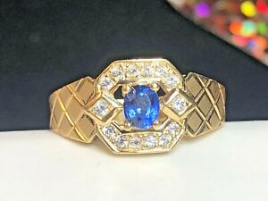 VINTAGE ESTATE 18K GOLD BLUE SAPPHIRE DIAMOND RING APPRAISAL SIGNED ORO  WEDDING